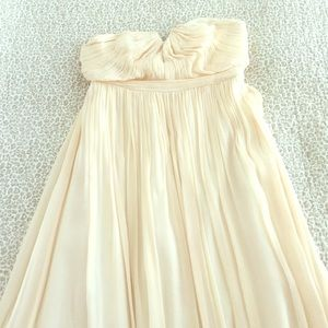 Ivory/champagne strapless bridesmaids dress